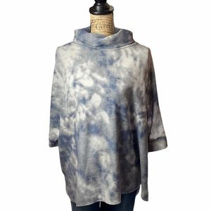 Honeyme blue/gray tied dyed poncho